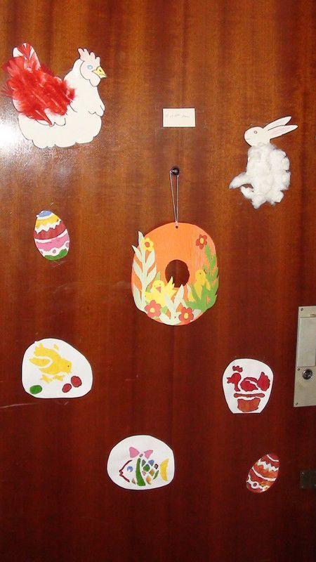 Décoration de la porte d'entrée pour Pâques