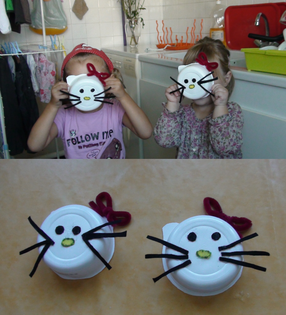 Activites collage - Tete hello kitty ...